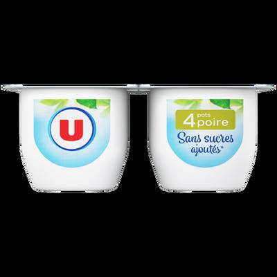 Coupelle sans sucres ajoutés poires U, 4x100g