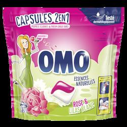 Lessive 2en1 rose et lilas blanc OMO, 30 dosettes soit 723g