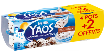 Nestlé Yaourt Brassé À La Grecque Stracciatella Yaos, 4x125g + 2 Offerts