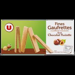 Fines gaufrettes goût chocolat et noisette U, 4 sachets de 8gaufrettes dans 1 paquet de 160g