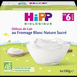 Fromage blanc nature sucré BIO HIPP, dès 6 mois, 4 coupelles de 100g