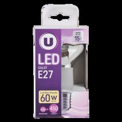 Led U, spot, r63, 60w, e27, transparent, lumière chaude