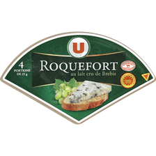 Roquefort AOP au lait cru de brebis U, 32%MG, 4 portions, 100g