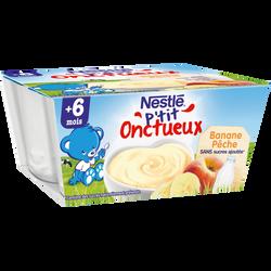 Dessert infantile pêche banane P'tit Onctueux NESTLE, dès 6 mois, 4 pots x100g