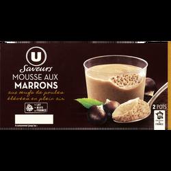 Mousse aux oeufs à la crème de marron vanillée U SAVEURS, 2x90g