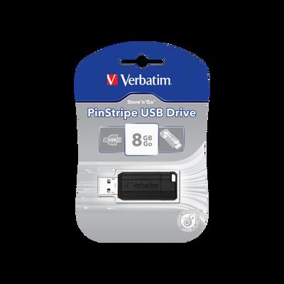 Clé USB Pinstripe VERBATIM 8Go, noir