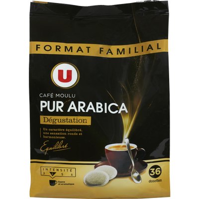 Café pur arabica U, 36 dosettes soit 250g