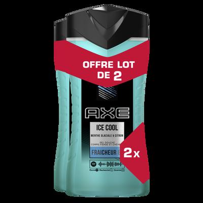 Gel douche homme ice cool menthe glaciale/citron AXE 2x250ml