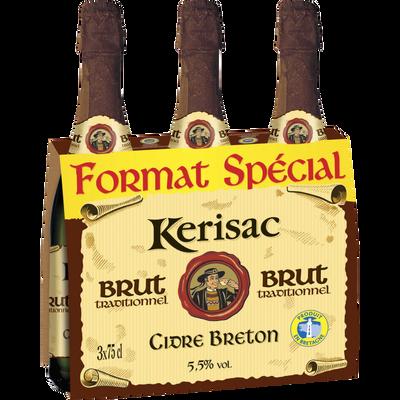Cidre brut bouché traditionnel IGP breton KERISAC, 3 bouteilles de 75cl