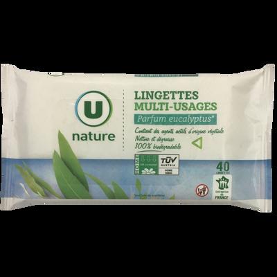 Lingettes multi-usages eucalyptus U NATURE, x40