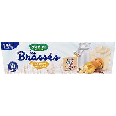 Dessert bébé les Brassés abricot vanille de 10 à 36 mois BLEDINA, les 6 pots de 95g
