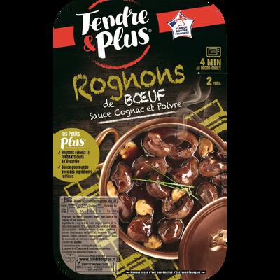 Rognons de boeuf cuisinés dans une sauce au cognac et au poivre, TENDRE & PLUS, Barquette, 300g