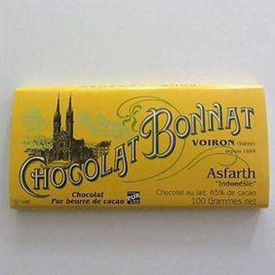 """Chocolat lait au beurre de cacao """"Asfarth Indonésie"""" BONNAT,100gr"""