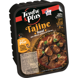 Tajine boeuf cuit, TENDRE ET PLUS, France, barquette 410g