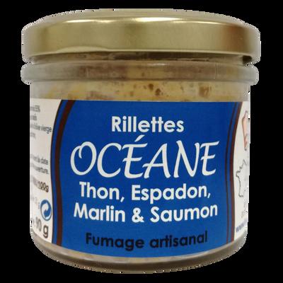 Rillettes Océane (thon, espadon, marlin, saumon), bocal 90g