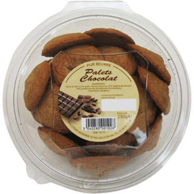 Palets pur beurre chocolat, BISCUITERIE MODERNE, blister, 250g