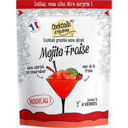 Cocktail granité mojito à la fraise sans alcool COCKTAILS D'HADRIEN, doypac k de 600ml