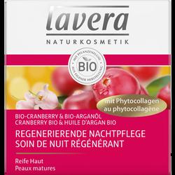 Soin de nuit régénérant au cranberry et à l'huile d'argan bio LAVERA,pot de 50ml