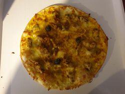 PIZZA POULET CURRY ANANAS FAIT MAISON