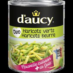 Duo haricots verts et haricots beurre D'AUCY, sous vide de 455g