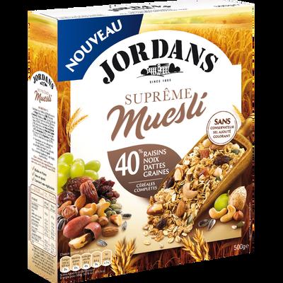 Céréales suprême muesli fruits séchés,noix & graines JORDANS paquet 500g