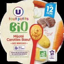 Assiette mijoté de carottes et boeuf BIO U TOUT PETITS, dès 12 mois, 230g