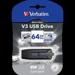 Clé USB VERBATIM 3.0 V3 64Go, noir