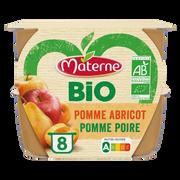 Materne Compote Sans Sucre Ajouté Pomme Abricot/pomme Poire Bio Materne, 8x100g