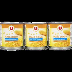 Maïs doux en grains sans sucre ajouté U, 3 boîtes de 1/4, 420g