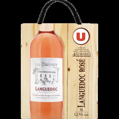 Vin rosé IGP Languedoc Les Pluviers, U, fontaine à vin de 3l