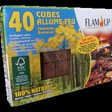 Cubes allume feux écologiques 100% naturels FLAM'UP, boite de 40