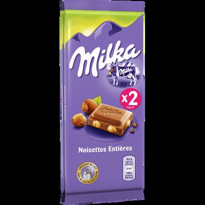 Chocolat au lait et noisettes MILKA, 2x100g