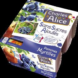Dessert de fruits pomme myrtille sans sucre ajouté, CHARLES & ALICE, 4x 97g