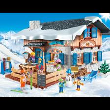 Chalet avec skieurs PLAYMOBIL
