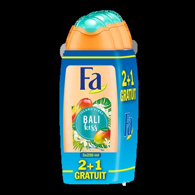 Douche crème soin Bali kiss mangue/fleur vanille FA, flacon de 2x250ml+ 1 gratuit