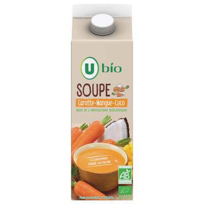 Soupe à base de fruits et légumes (carotte, mangue, coco) issue de l'agriculture biologique flash pasteurisée réfrigérée U BIO, 75cl