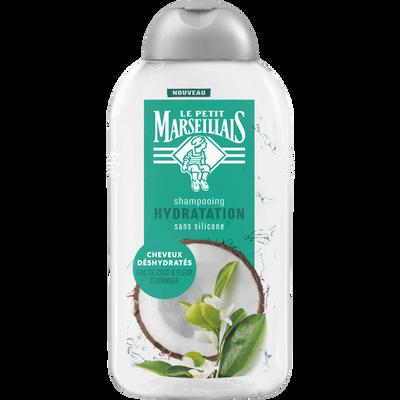 Shampoing hydratation parfum eau de coco et fleur d'oranger LE PETIT MARSEILLAIS, flacon de 250ml