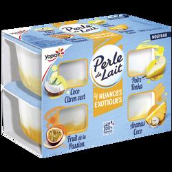 Spécialité laitière sucrée à la vanille sur lit aux fruits aromatiséePERLE DE LAIT 4x95g