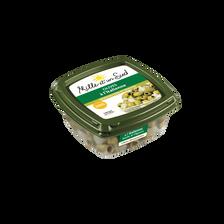Olives vertes dénoyautées à l'italienne basilic et oignons MILLE ET UNSUD, barquette de 200g