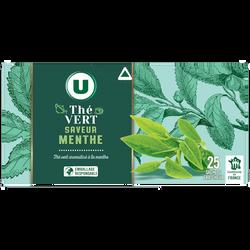 Thé vert à la menthe U, boîte de 25 sachets, 50g
