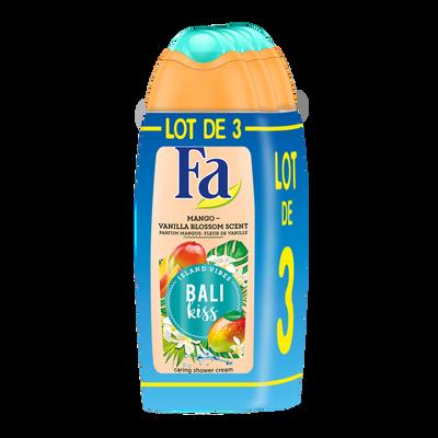 Gel douche soin Bali kiss parfum mangue et fleur de vanille FA, 3 flacons de 250ml