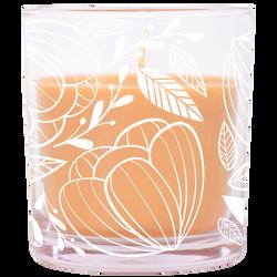 Bougie parfumée dans un verre 74x83mm UMAISON orange-thèmebosquet nature-décor fleurs blanches-parfum fraîcheurvégétale