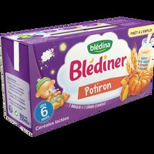 BLEDINER lait, légumes et potiron Blédina, dès 4-6 mois, 2x250ml