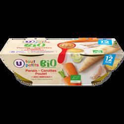 Bols panais carotte et poulet Tout Petits Bio U, dès 12mois, 2x200g