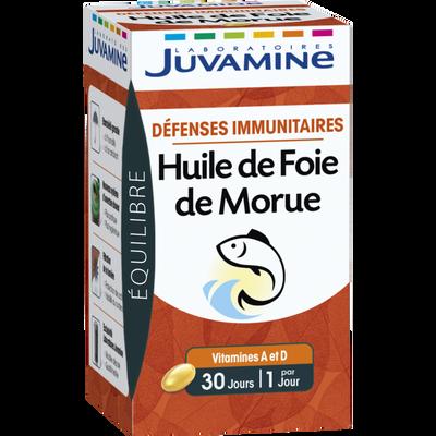 Equilibre défenses immunitaires huile foie de morue JUVAMINE, 30 gélules