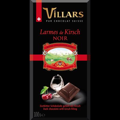 Chocolat noir larmes de liqueur Kirsh, VILLARS, tablette de 100g