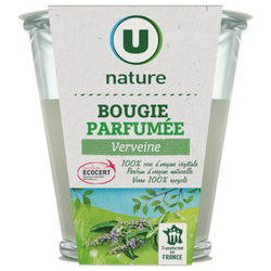 Bougie végétale parfum verveine U NATURE, pot de 120g