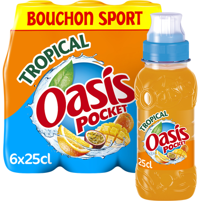 OASIS tropical bouchon push pull, 6 bouteilles de 25cl