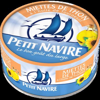 Miettes de thon à l'huile de tournesol PETIT NAVIRE, 160g