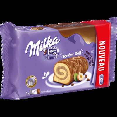 Biscuit roulé fourré crème noisette enrobé chocolait lait MILKA, 148g